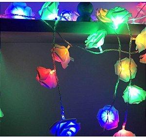 Cordão Luminoso 20 Lâmpadas De Led E Flores Rosa - Colorida