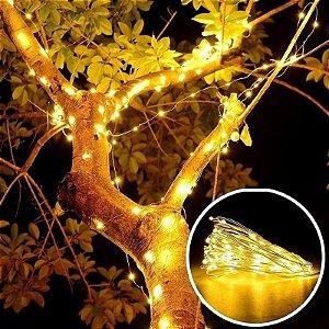 Fio Fada Cobre Branco Quente Luz Natal 10m 100 Leds Pilha Festa Decoração