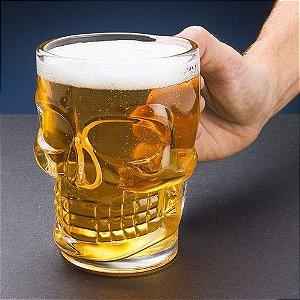 Caneca Chopp Cerveja Vidro Caveira Rock 510ML