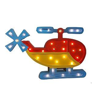 Luminária de Led em Madeira - Helicóptero