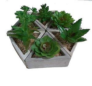 Kit 6 Flores Artificiais Suculenta + Vaso Cimento Triângulo