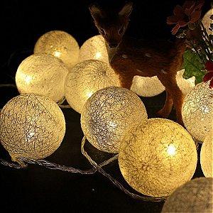 Cordão Fio De Luz Luminária 10 Bolas 2mts Led Cores