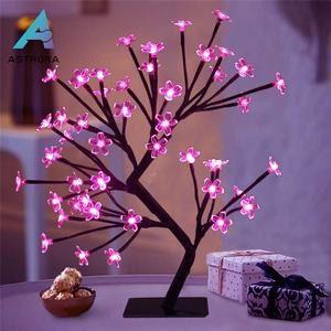 Luminária Árvore Flor Cerejeira 48 Leds Abajur Rosa