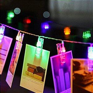 Varal Luminoso Led Cordão 2 M Pregador 10 Prendedores Colorido