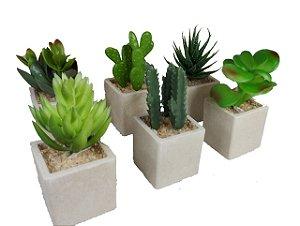 Plantas Mini Suculentas Artificiais Vaso Bege