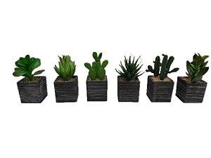 Kit 3 Plantas Mini Suculentas Artificiais Vaso Preto