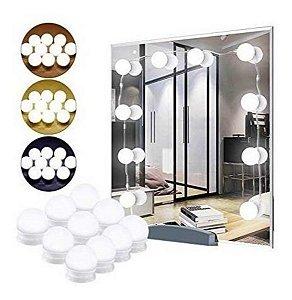 Luz De Espelho Kit 10 Lampadas Fio Maquiagem Camarim Led