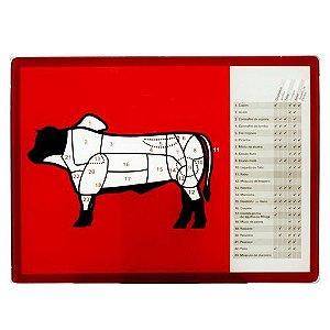 Tabua De Carne Vidro Cortes Do Boi 40x30cm Corte Churrasco