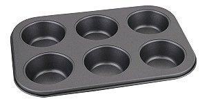 Forma Antiaderente 6 Cav Cupcake Muffin Bolo Pão Queijo