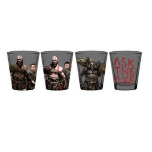Kit 4 copinho de vidro dose shot God Of War 50ml Presente