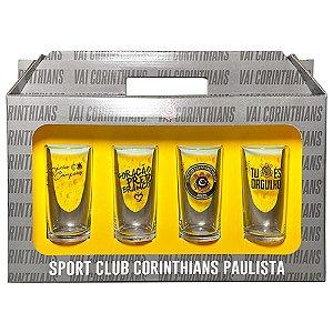 Conjunto 4 Copos Vidro Long Drink Corinthians Timao - Historia 300ml Licenciado
