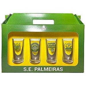 Conjunto 4 Copos Vidro Long Drink Palmeiras Porco - Historia 300ml Licenciado