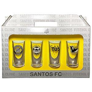 Conjunto 4 Copos Vidro Long Drink Santos Peixe - Historia 300ml Licenciado