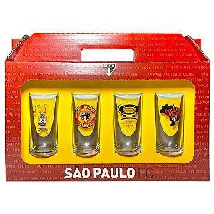 Conjunto 4 Copos Vidro Long Drink Sao Paulo  Tricolor - Historia 300ml Licenciado