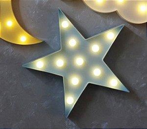 Luminária / Abajur De Led Em 3d De Estrela