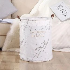 Cesto Para Roupas Sujas Organizador Flexível Laundry Basket Branco e Cinza
