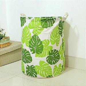Cesto Para Roupas Sujas Organizador Flexível Laundry Basket Folhas