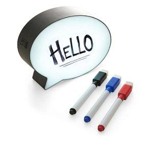 Luminária Light Box Formato Quadro Balão De Mensagem e Fala Com Caneta