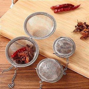 Infusor Em Inox Para Chá Mini Peneira Coador Com Corrente