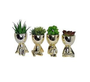 1 Vaso Decorativo De Porcelana Robert / Bob Plant Do BBB Dourado