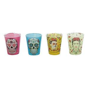 Conjunto 4 Copos De Shot Frida Kahlo Skulls Retrô 50ml