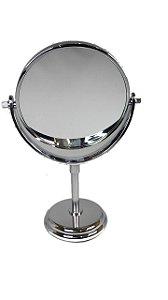 Espelho De Mesa Maquiagem Dupla Face Aumenta 2 X Gira 360 Gr