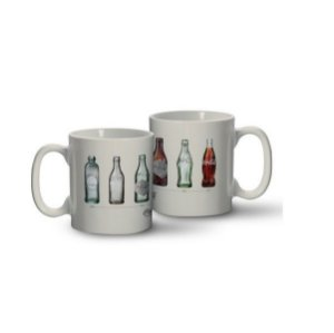 Caneca Porcelana Coca-cola Bottles Evolution - 320 Ml