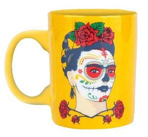 Mini Caneca Cerâmica Frida Kahlo Face Fendo Amarelo 140ml
