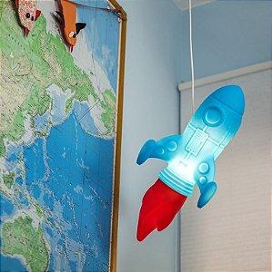 Luminária Pendente Infantil Menino Foguete Azul/vermelho