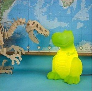 Luminária Abajur De Mesa Dinossauro Verde Quarto Menino