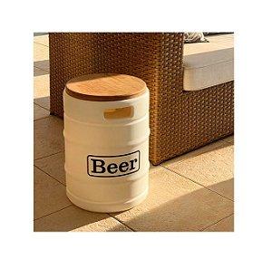 Banco Banqueta Barril Tambor Com Madeira Beer Cerveja