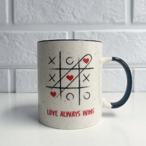 Caneca Porcelana Branca Love Always Wins 350ml