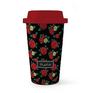Copo Plástico Frida Kahlo 500ml Preto Rosas Vermelhas