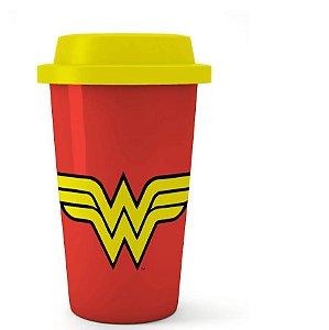 Copo Plastico Wonder Woman Mulher Maravilha Vermelho 500ml