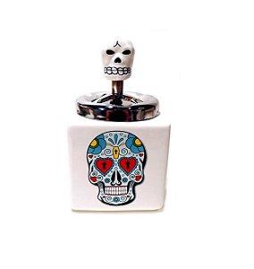 Cinzeiro Cigarro Cerâmica Caveira Mexicana Anti Fumaça