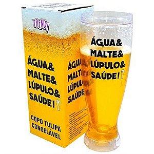 Copo Cerveja Tulipa Congelavel 450ml Agua Malte Lupulo Saúde