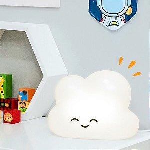 Luminária Abajur De Mesa Decor Infantil Nuvem Branca Decorfun