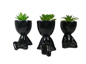 1 Vaso Decorativo Robert Plant Com Suculenta Bbb - Bob Preto
