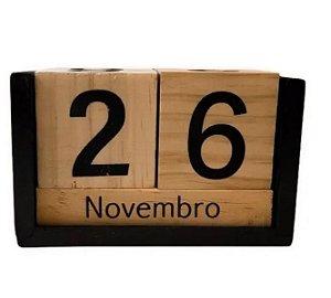 Calendário Permanente De Madeira P/ Mesa Home Office Decor