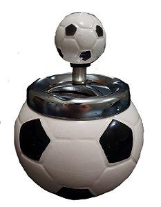 Cinzeiro De Cerâmica C/ Tampa Giratória Bola De Futebol Branco