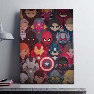 Placas Decorativa 28x20cm Mdf Avengers Marvel Kids