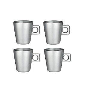 Jogo 4 Xícaras De Café Expresso Luxo Prata