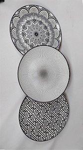 Kit C/ 3 Pratos Decorativos De Porcelana Preto Urban