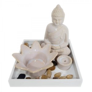 Aromatizador Difusor Decorativo Buda Cerâmica Branco