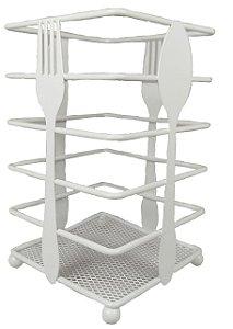 Porta Talher / Escorredor Aramado Quadrado Para Cozinha Branco