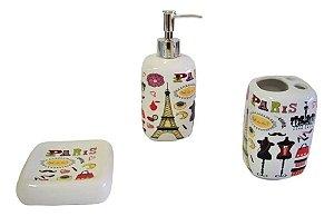 Conjunto Porta Sabonete E Escova Para Banheiro E Lavabo - Closet Paris