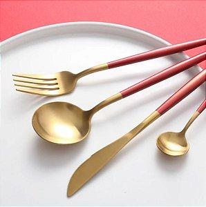 Conjunto De Talheres Luxo Aço Inox Dourado Com Vermelho