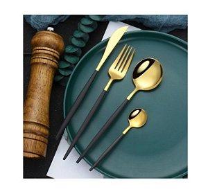 Conjunto De Talheres Luxo Aço Inox Dourado Com Preto Jantar