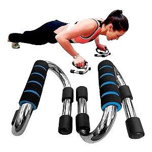 Barra De Chão Apoio Para Flexão Ergonômicas Exercício Fitnes