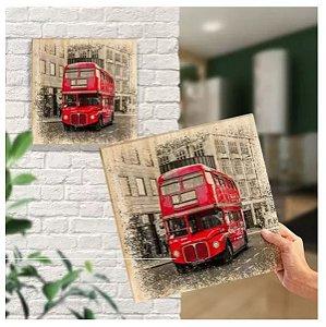 Quadro Em Pinus Decorativo Londres Ônibus / Bus - Quadrinho